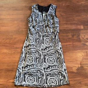 Initiatives black and white print mid length dress
